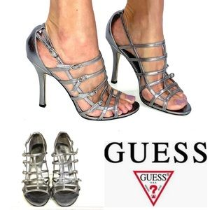 GUESS Silver gladiator GENEVIEVE heels 7